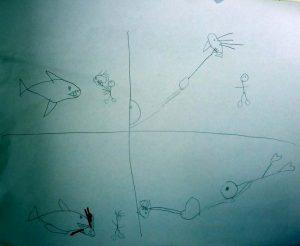P1060195-Sevis Zeichnung Hai packt Lionfish-klein